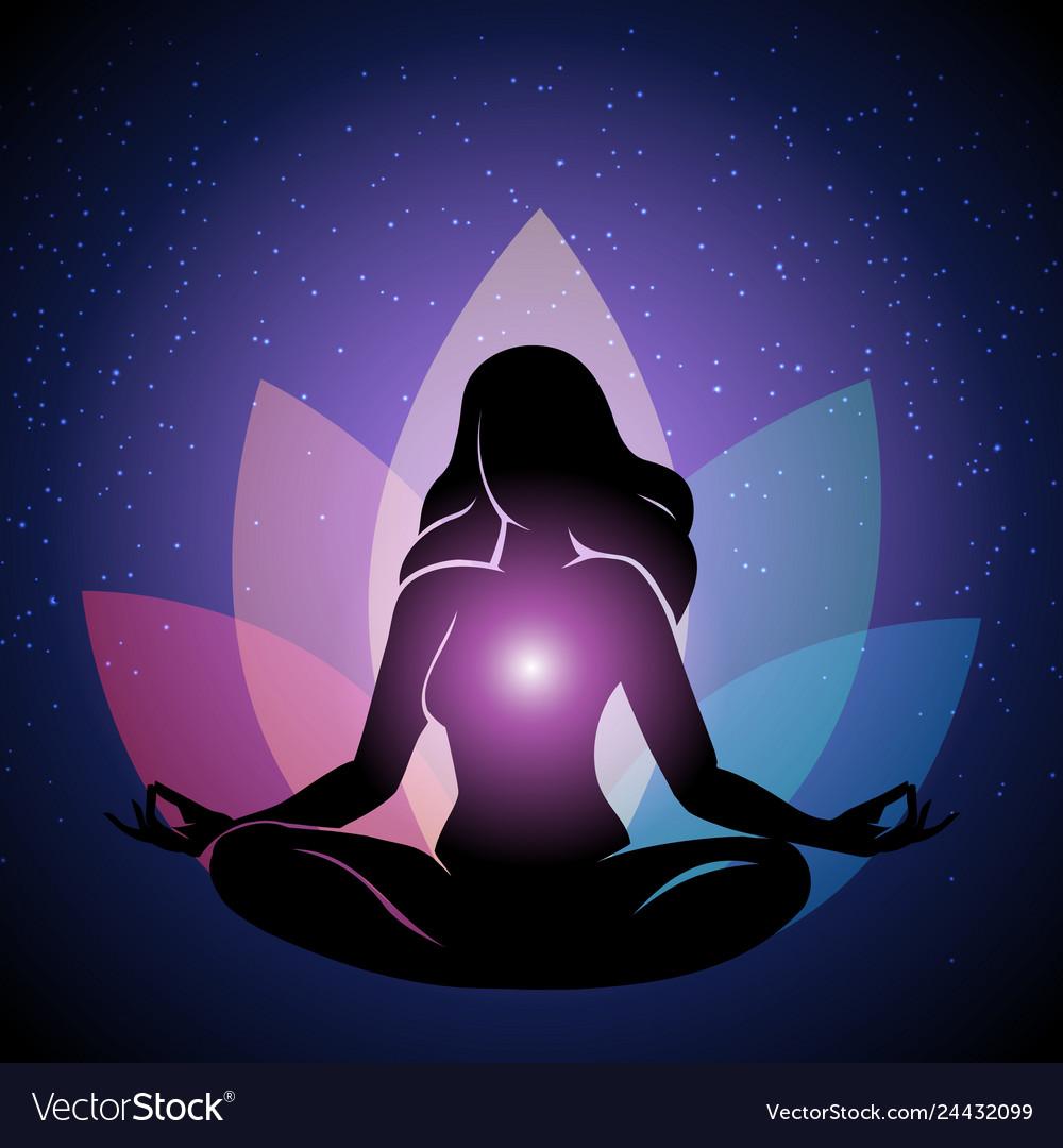 Silhouette of woman in yoga lotus pose