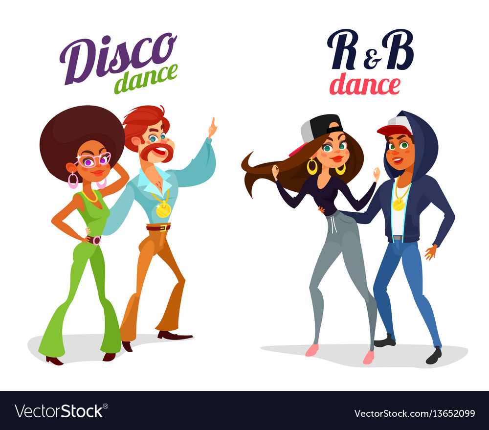 Two cartoon couples dancing dance in disco