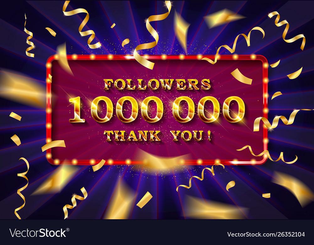 1 million followers thank you gold