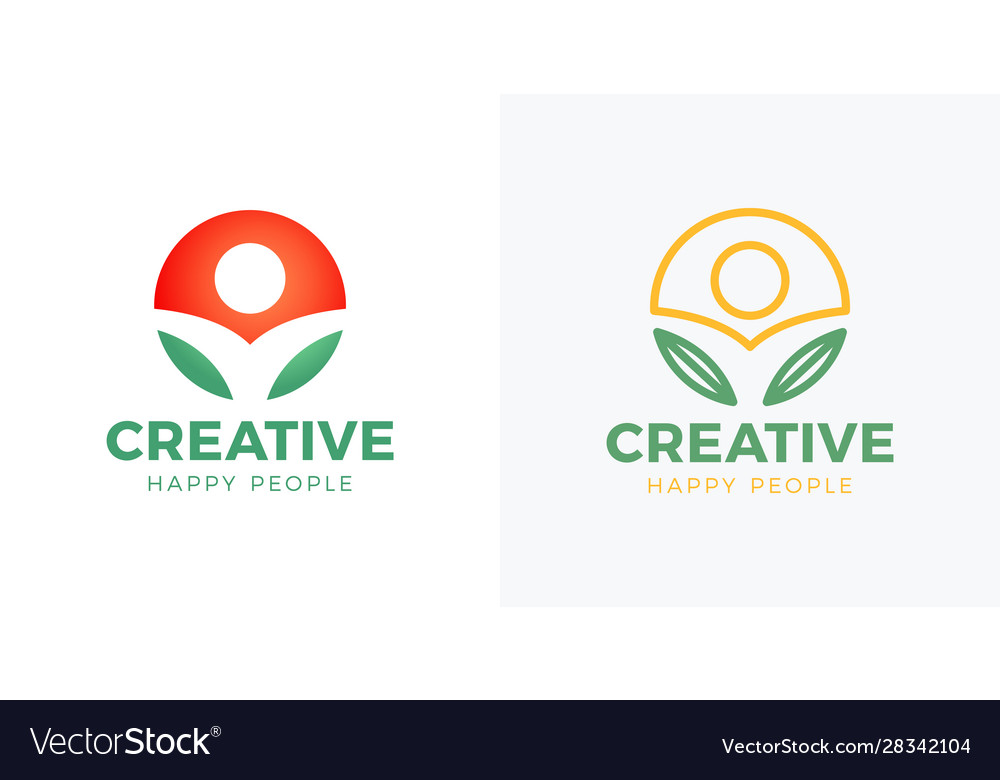 Abstract round symbol with happy human silhouette