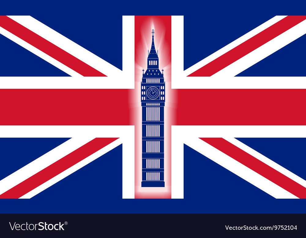 Big ben on background of Great Britain flag