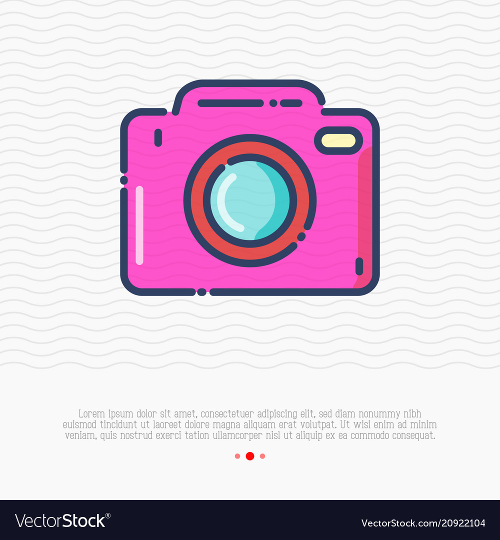 Camera thin line icon sign of photo