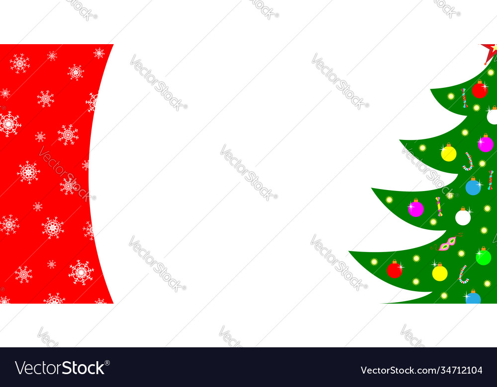 Christmas card border with a tree