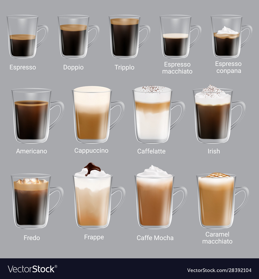 Coffee types set realistic isolated