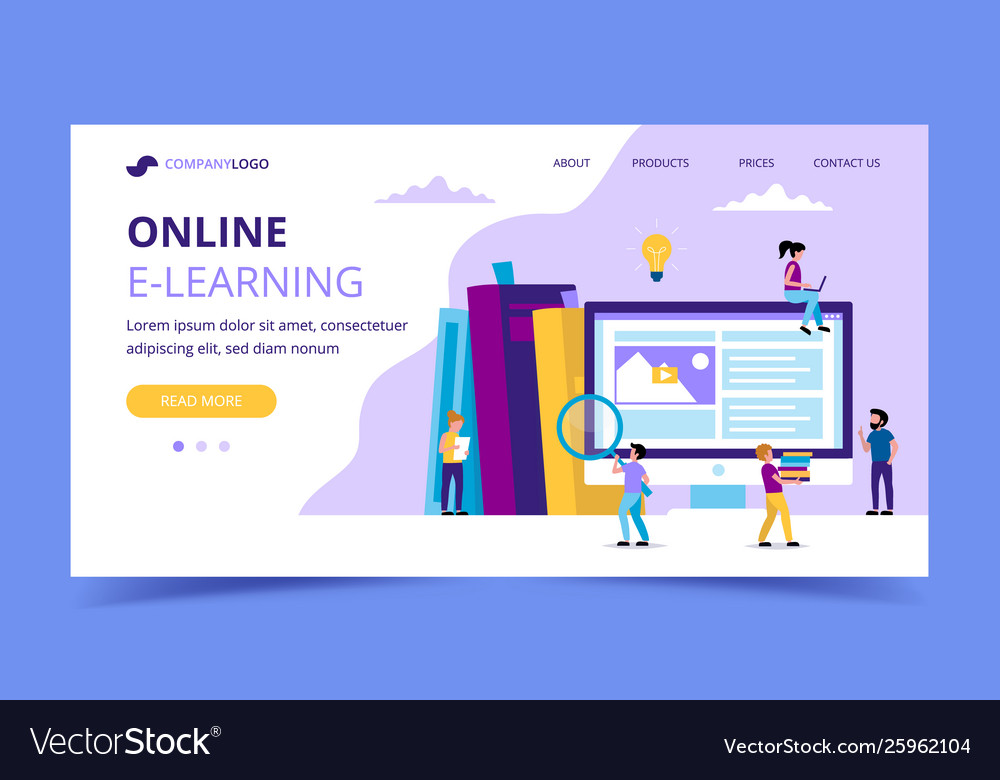 E-learning landing page concept for