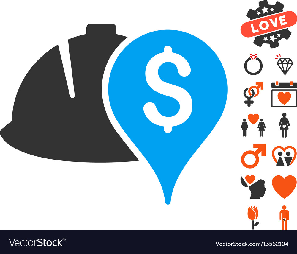 Helmet and money pointer icon with valentine bonus