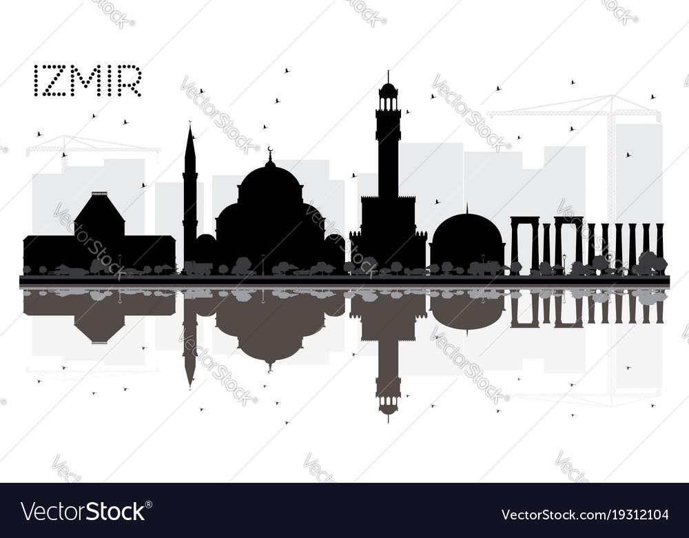 Izmir Turkey City Skyline Black And White Vector Image