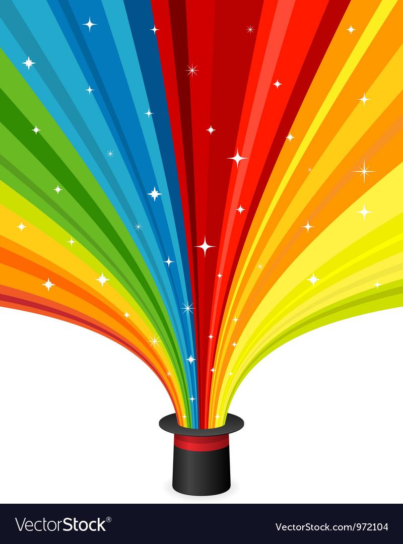 Magic hat with rainbow rays vector image