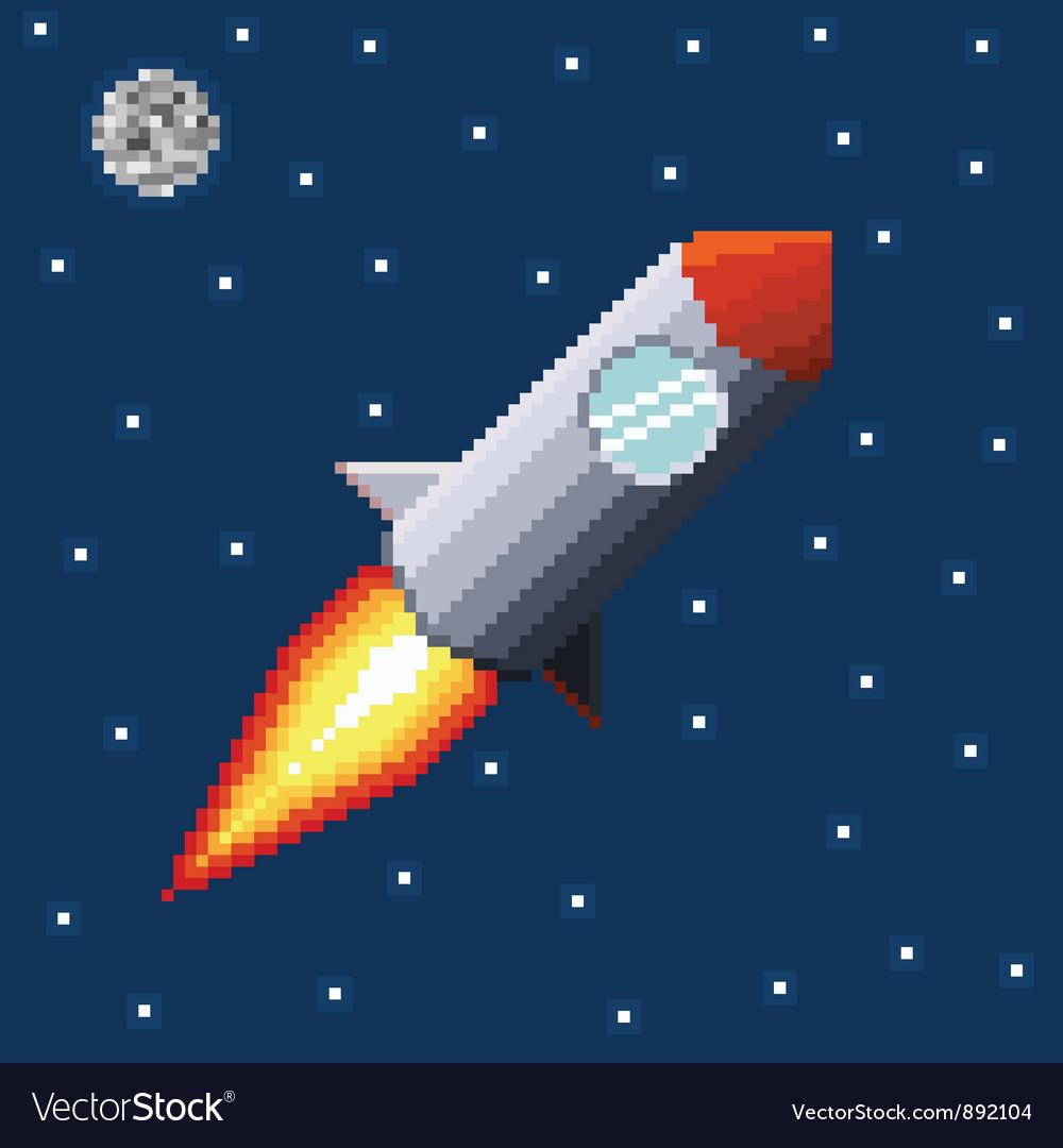 Pixel rocket in space vector image