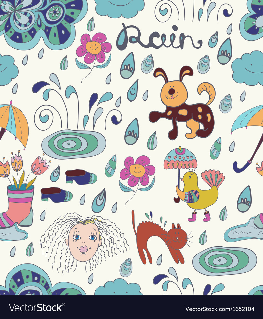 Rain cartoon Seamless background with funny vector image