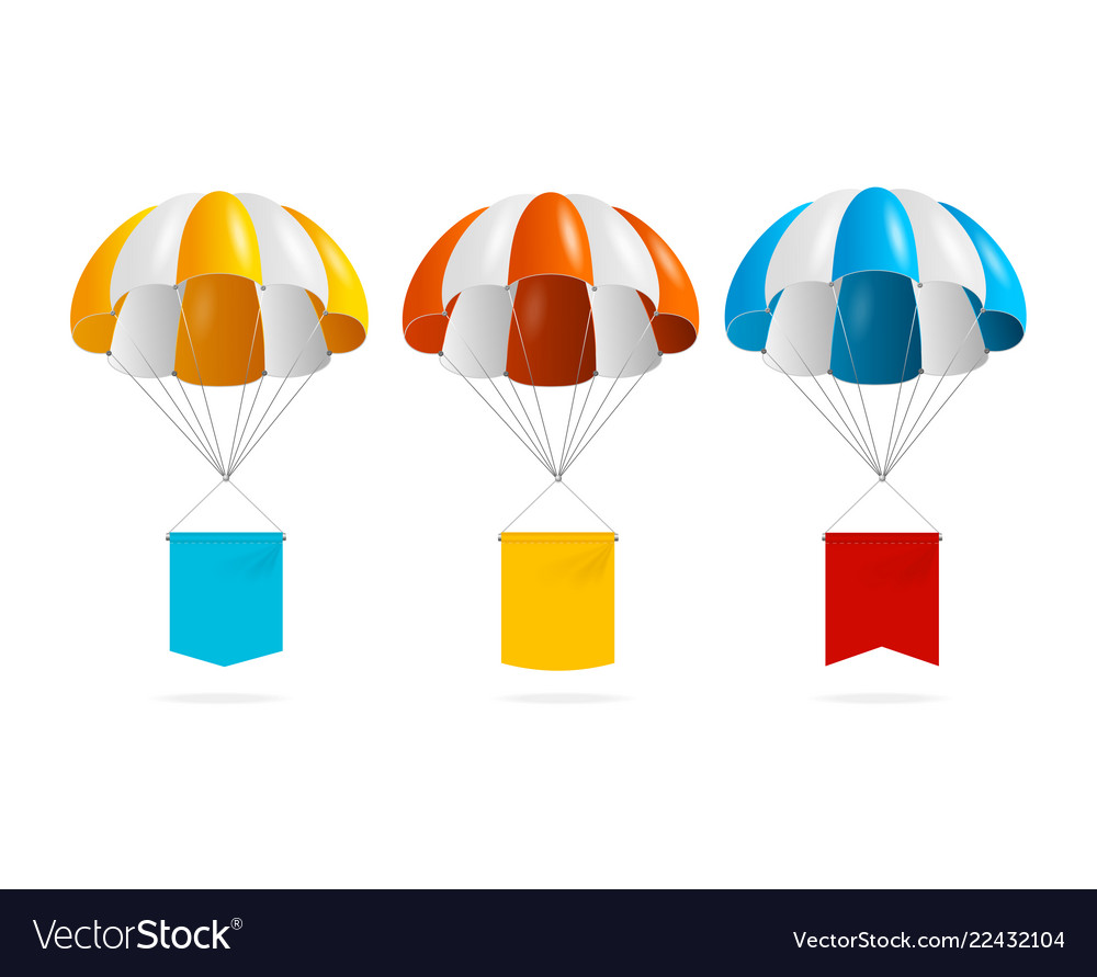 Realistic detailed 3d color parachute and banner