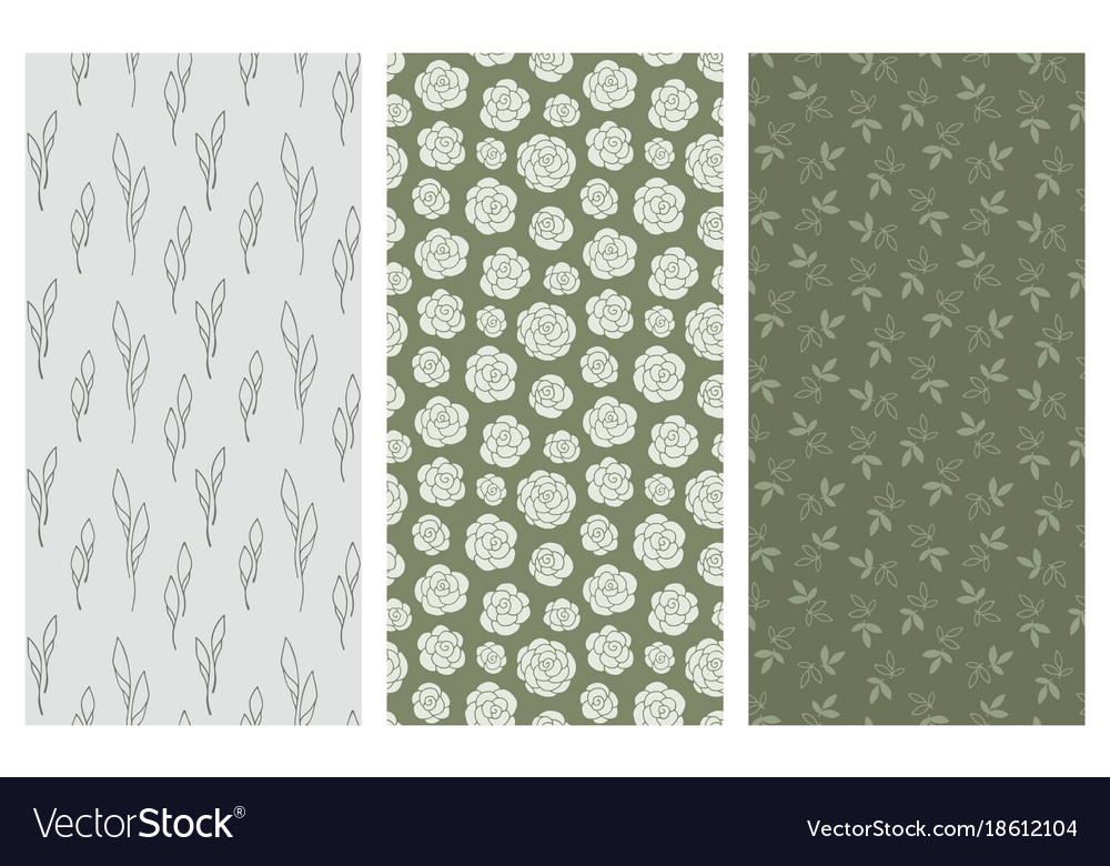 Seamless patterns with flowers and leaves