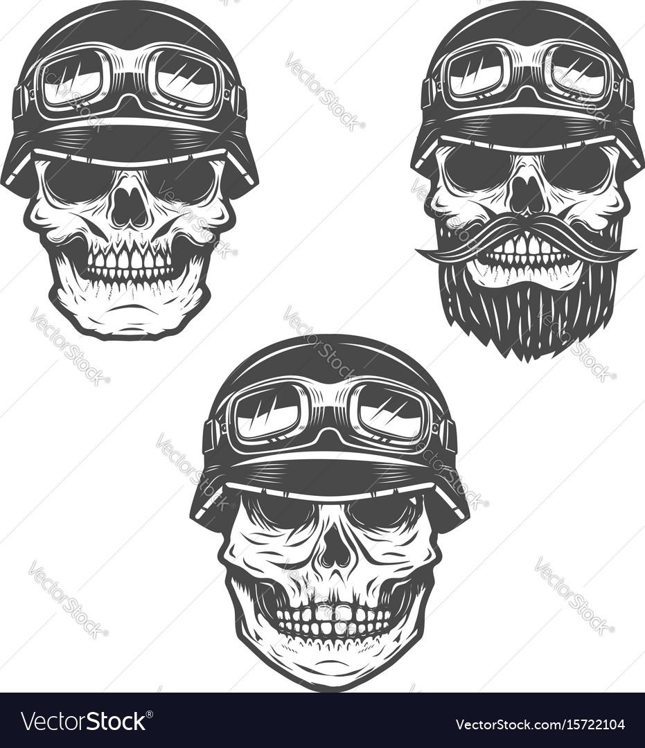 Set of racer skulls isolated on white background