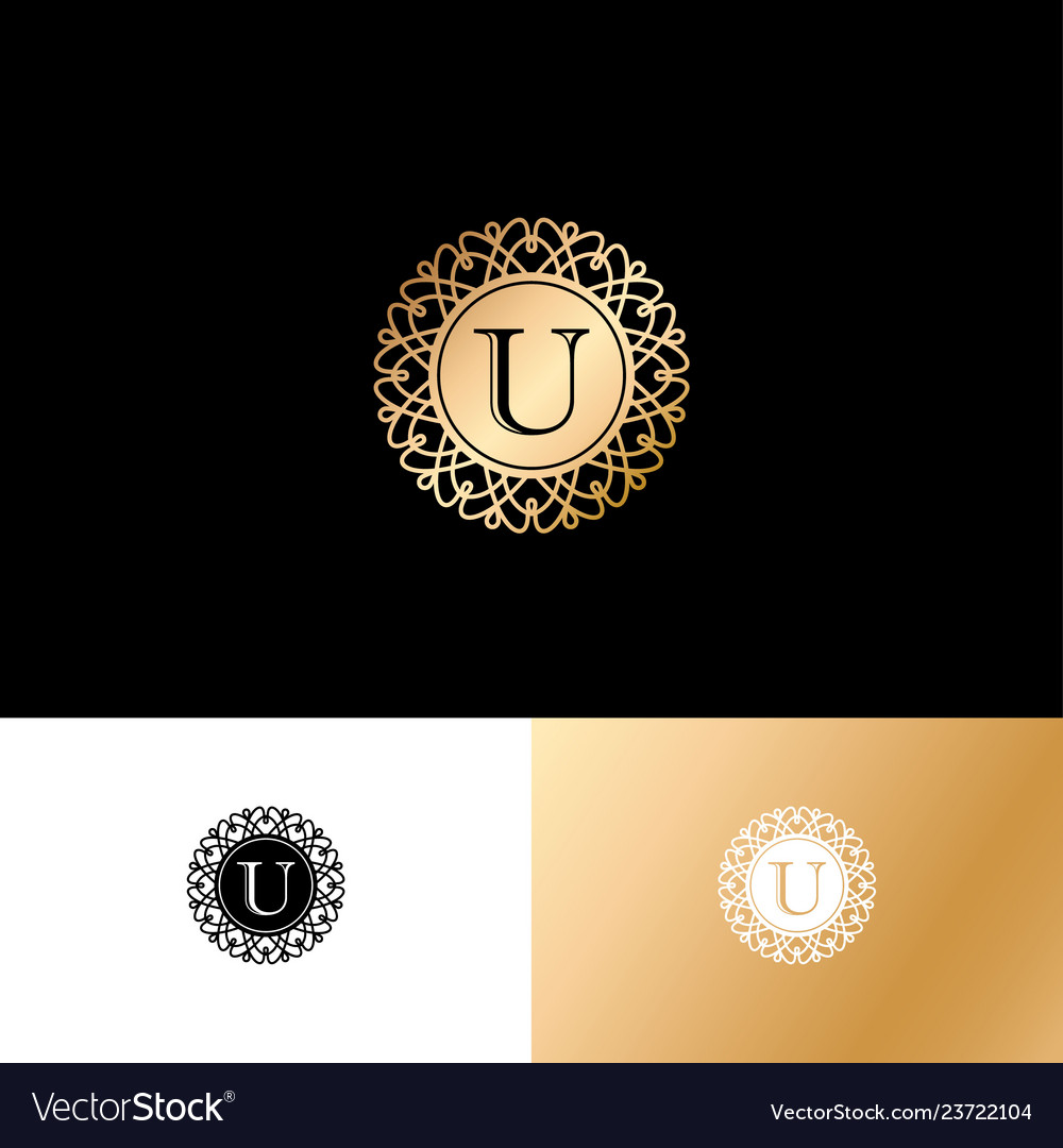 U gold letter monogram gold circle lace ornament