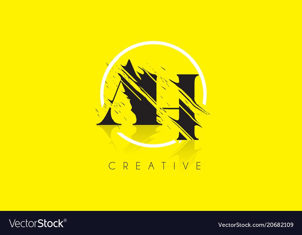 Ah letter logo with vintage grundge drawing