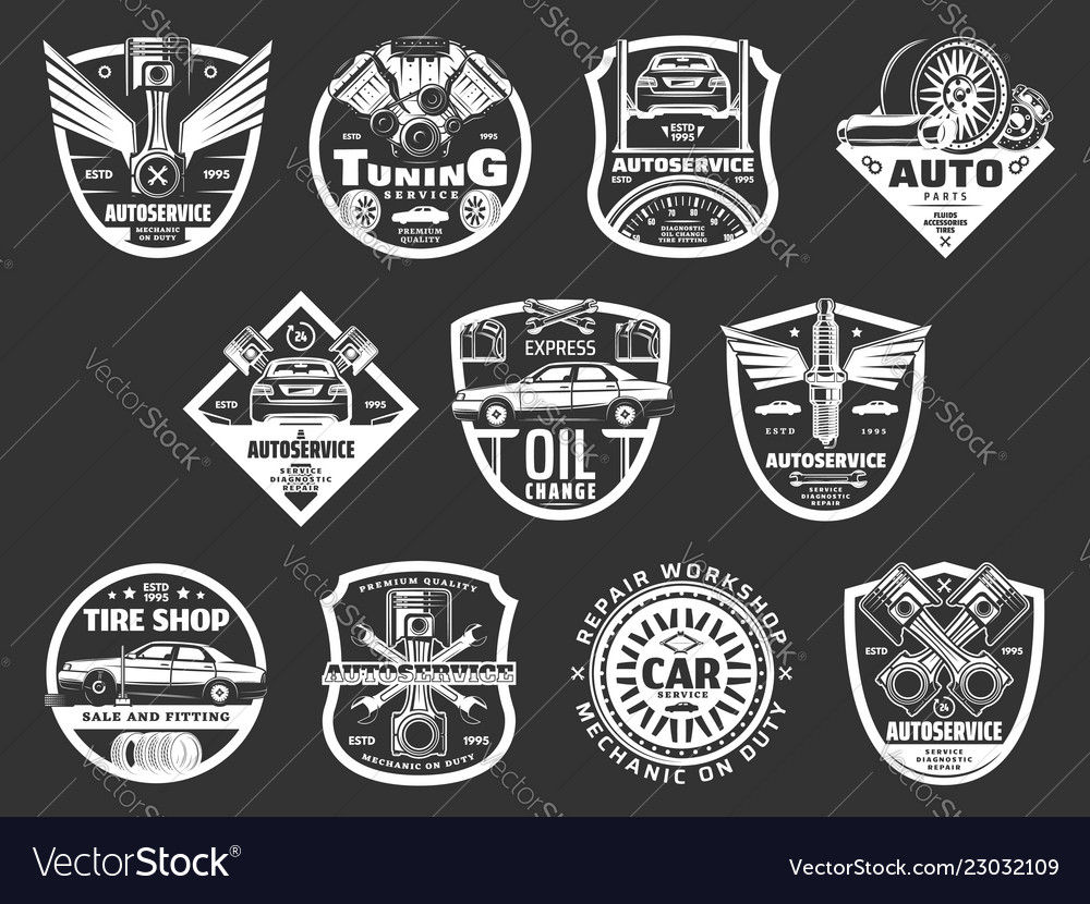 Auto service or car repair monochrome icons