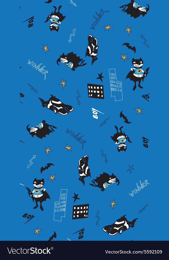 Batman fun cartoon boy seamless pattern vector image