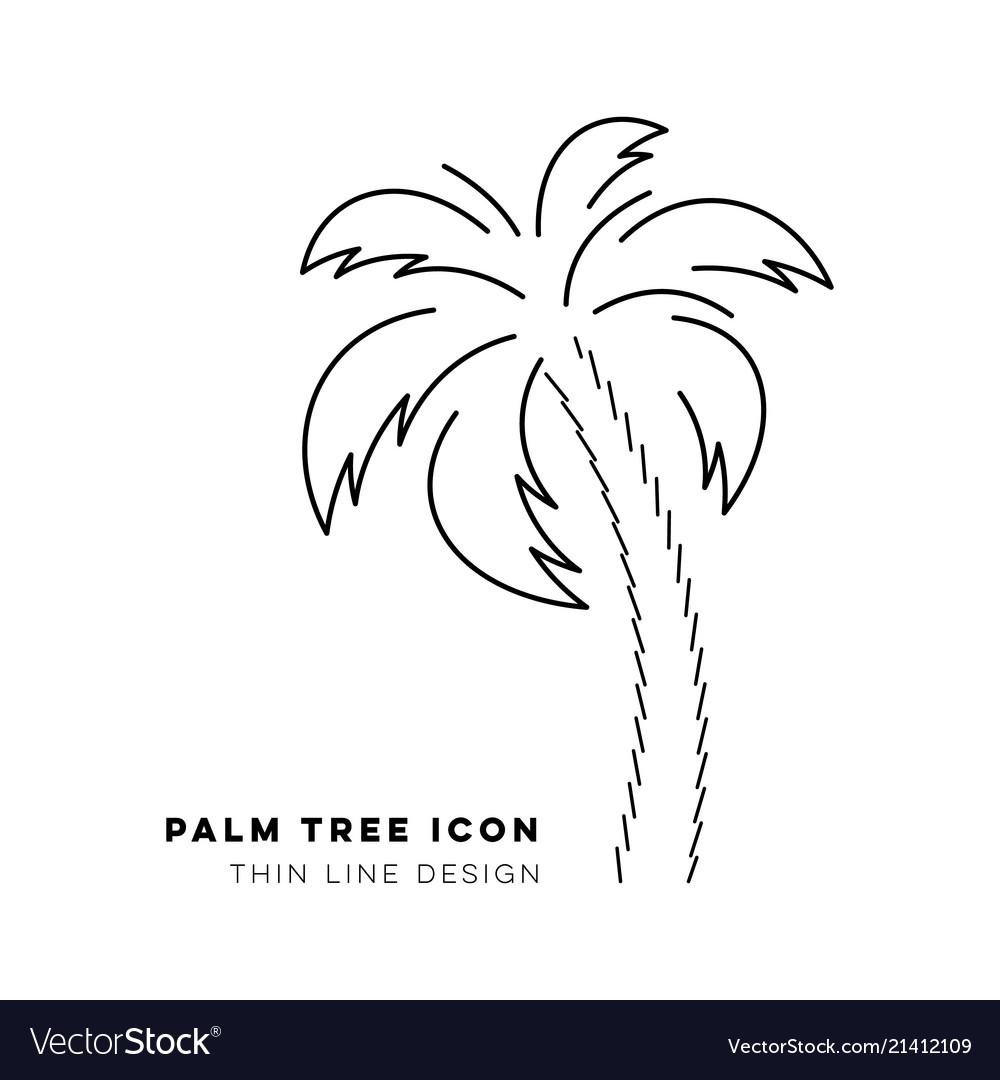 Black palm tree thin line icon