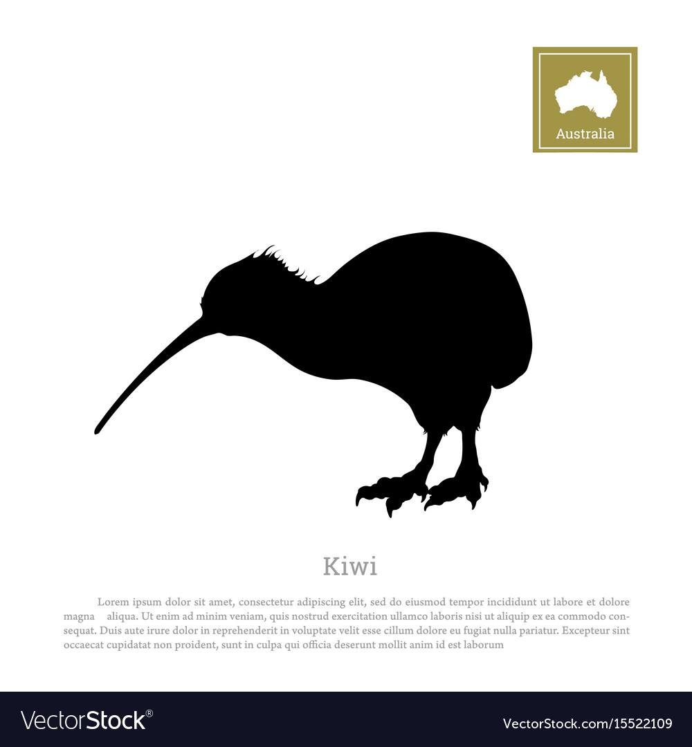 Black silhouette of kiwi bird animals of australia