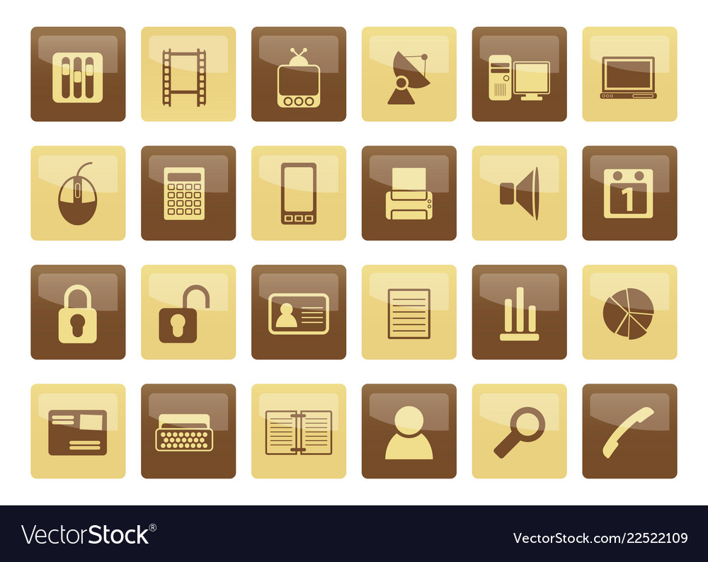 Business and office icons over brown background