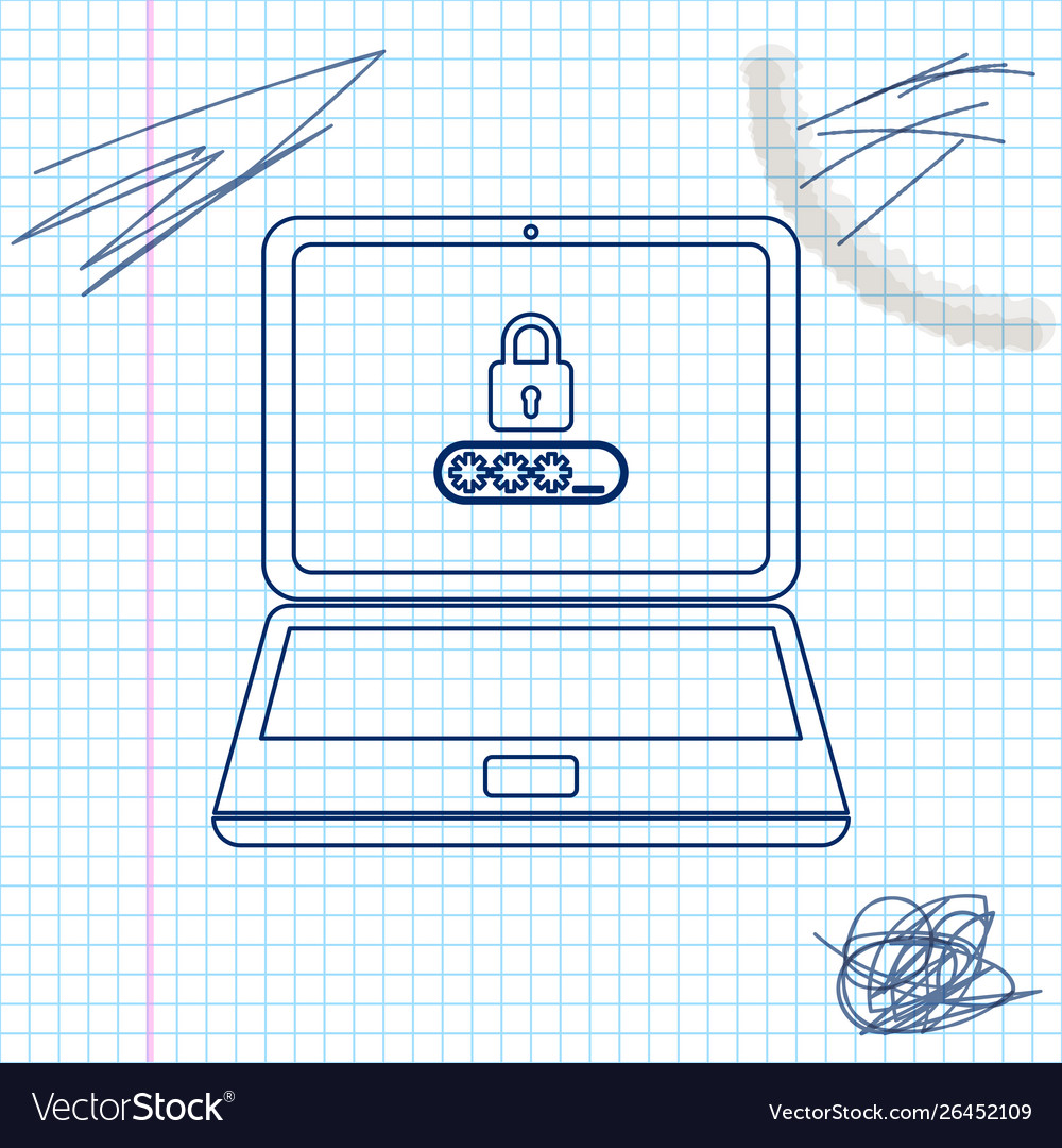Laptop with password notification and lock line