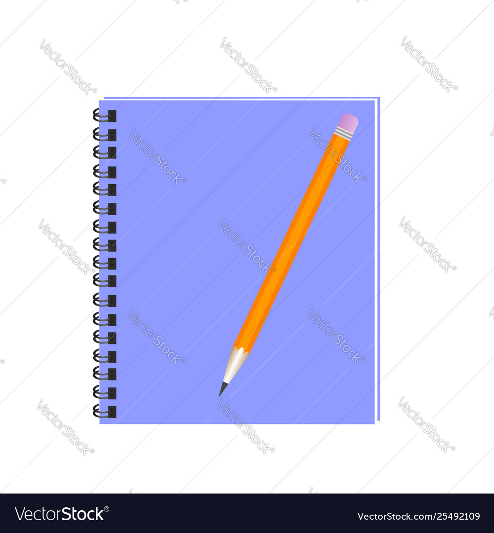 Pencil with notebook flat design writing concept