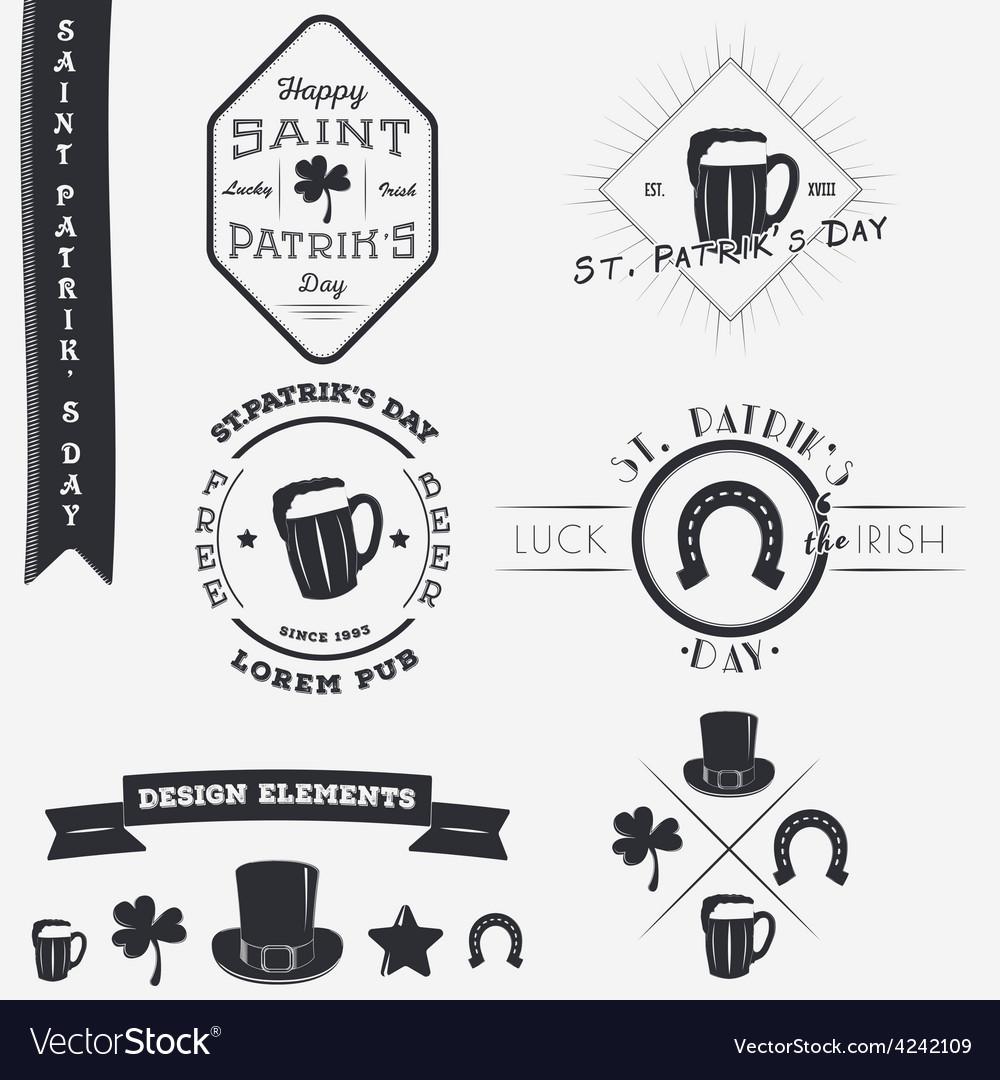 Saint Patricks Day Set of Typographic Badges