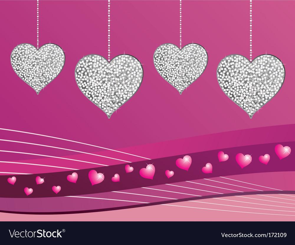 Silver glitter love hearts