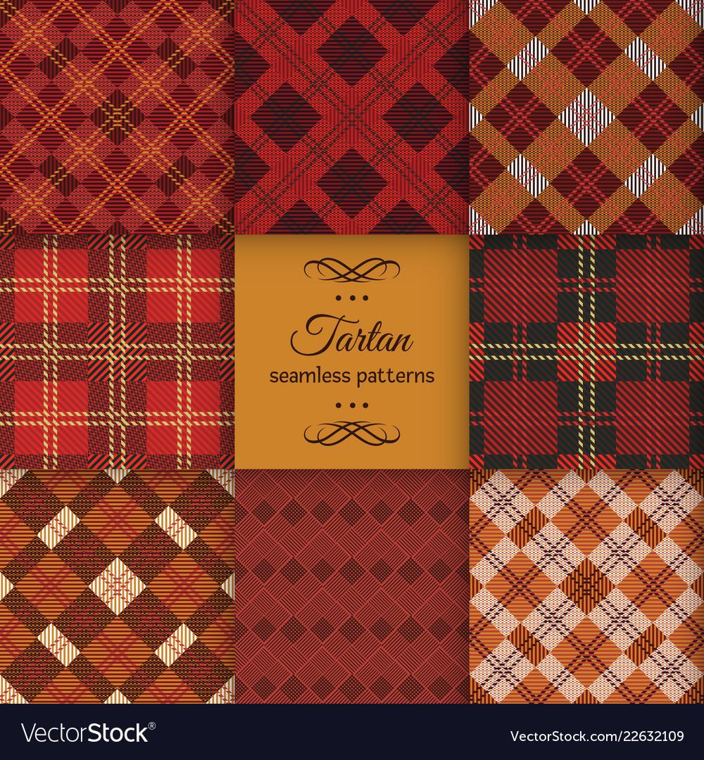 Tartan seamless pattern set