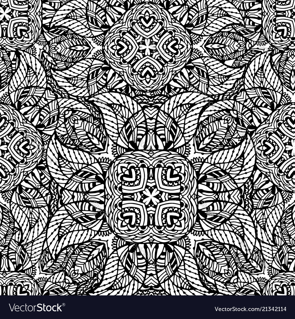 Black and white seamless pattern of abstract