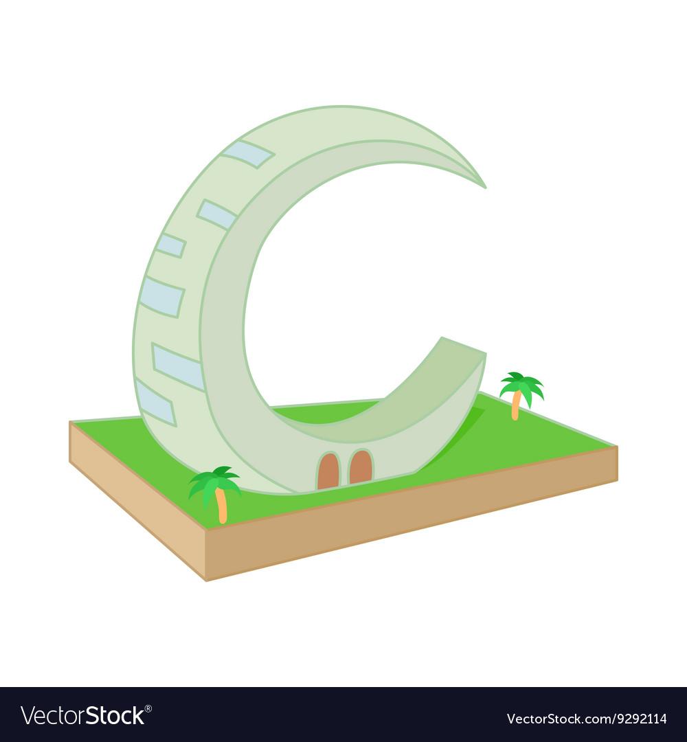Crescent Moon Tower Dubai icon in cartoon style vector image