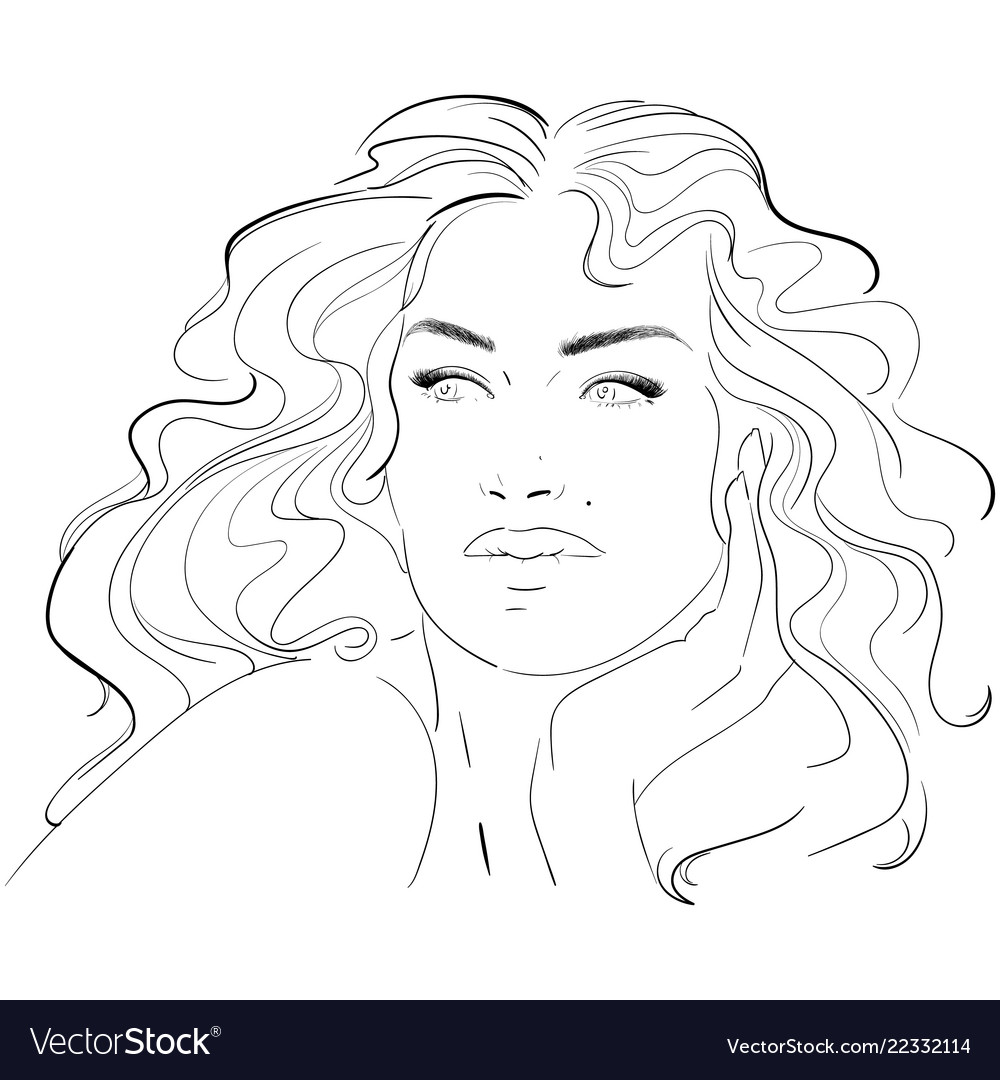 Fashion and beauty face hand draw fashion