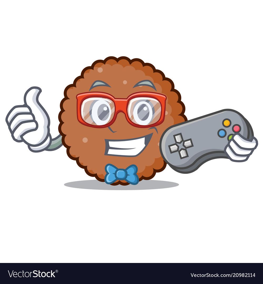 Gamer chocolate biscuit mascot cartoon