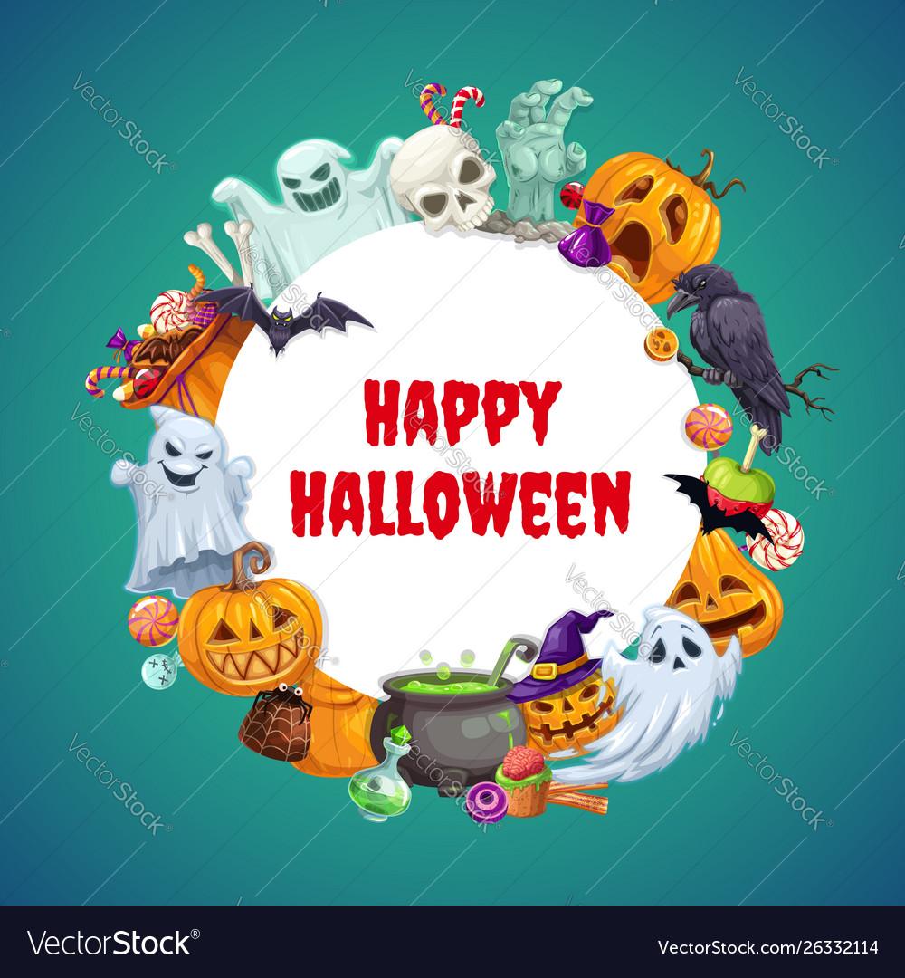 Halloween symbols frame ghosts pumpkins sweets