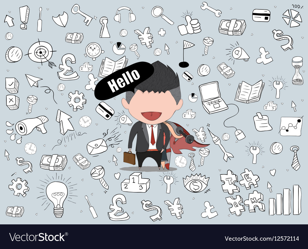 Happy face businessman hello business doodles vector image