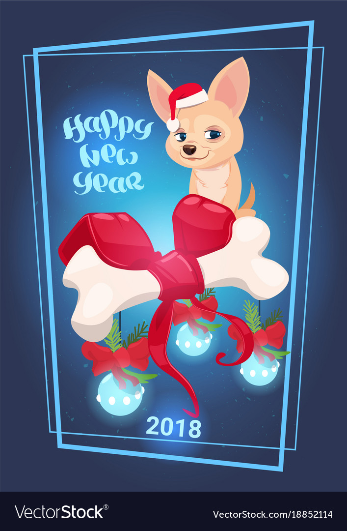 Happy New Year 2018 Greeting Card With Cute Dog Vector Image