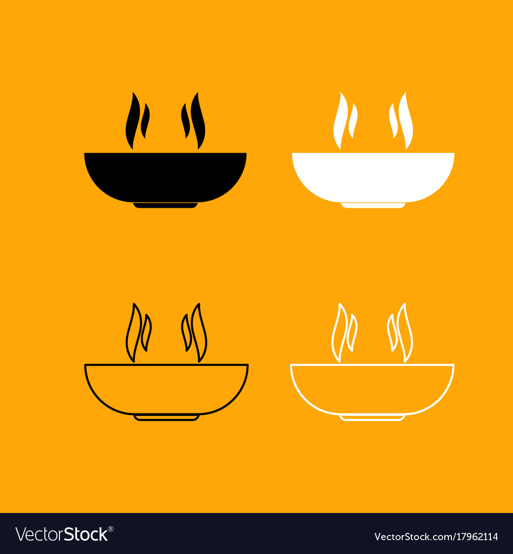 Hot dish set black and white icon