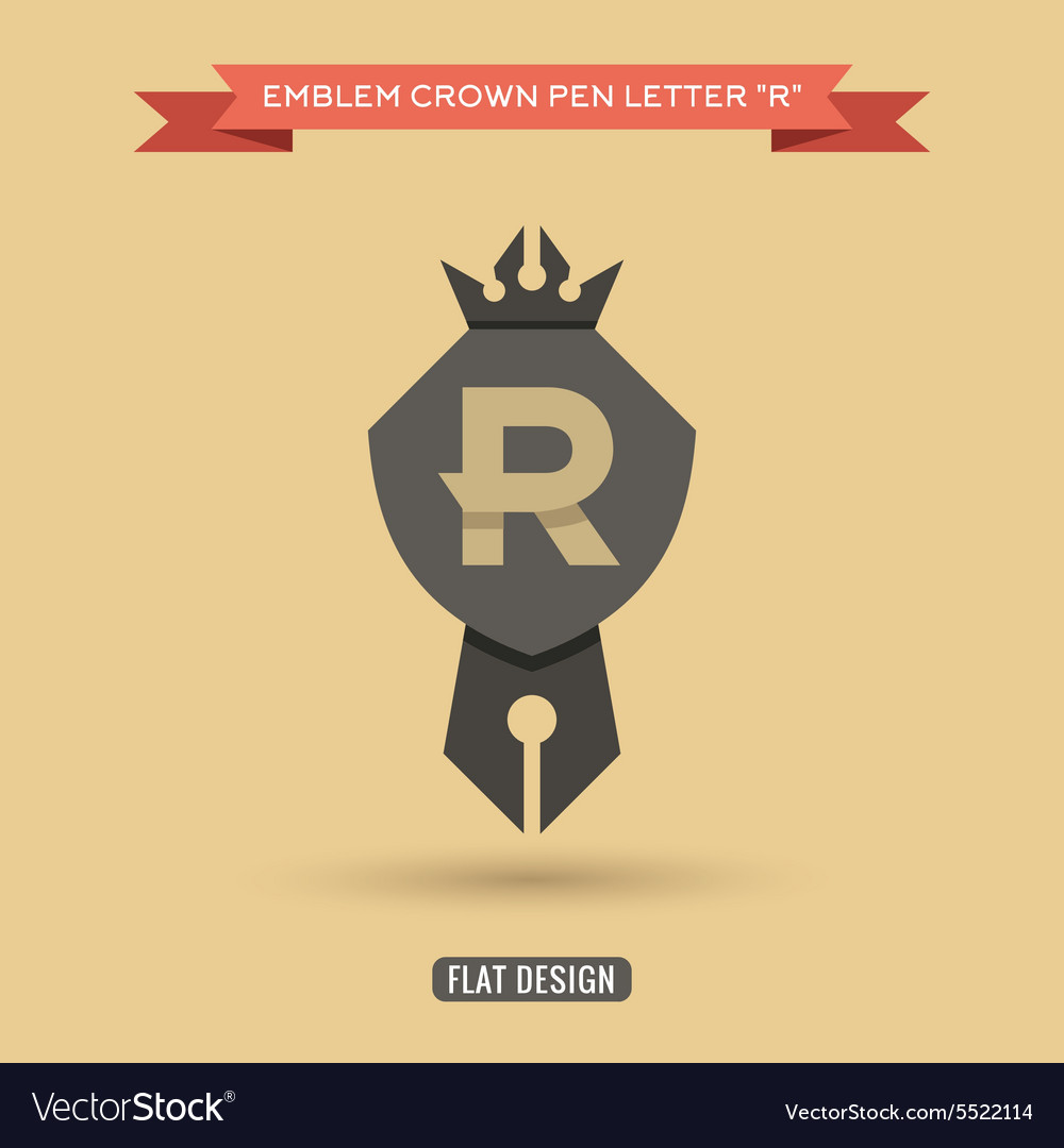 Logo emblem crown pen the letter R education