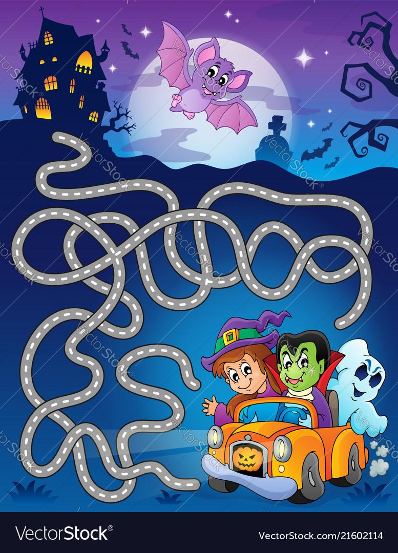 Maze 7 With Halloween Theme Vector Image