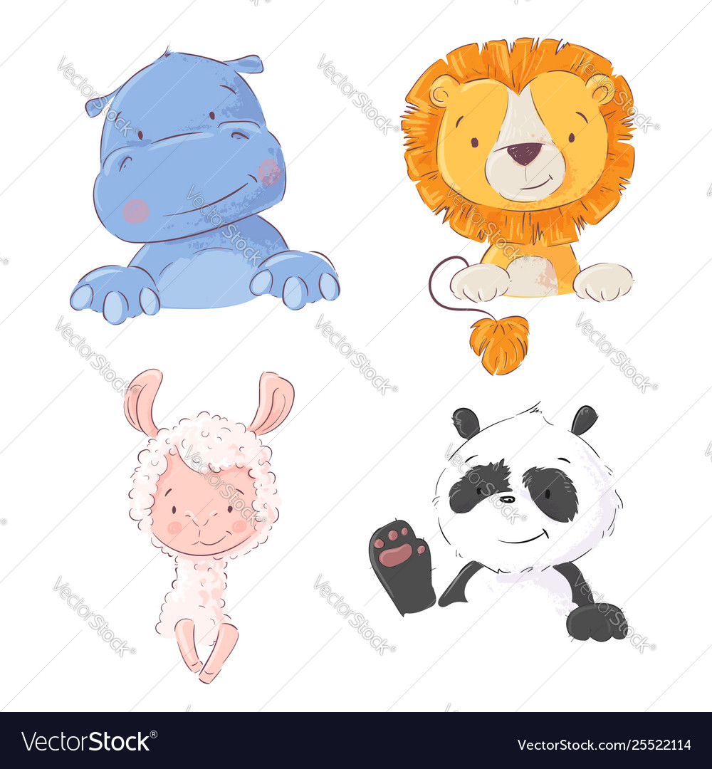 Set cute tropical animals hippo lion llama