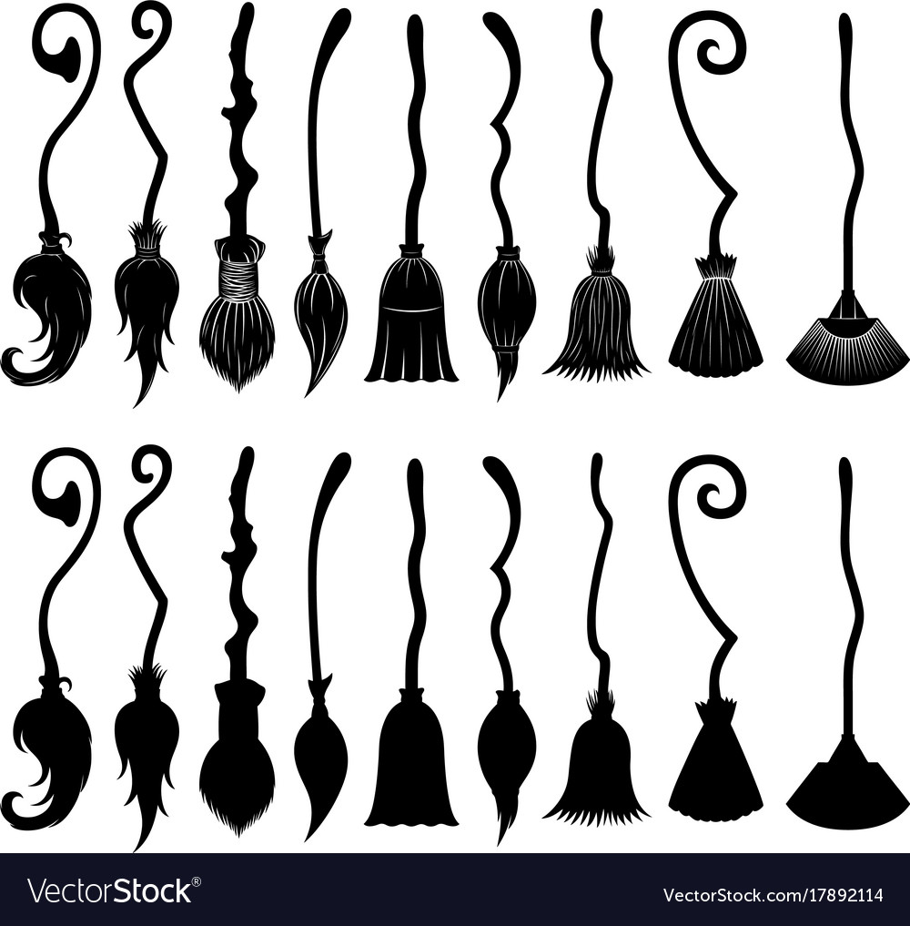 Set Of Different Witch Brooms Royalty Free Vector Image