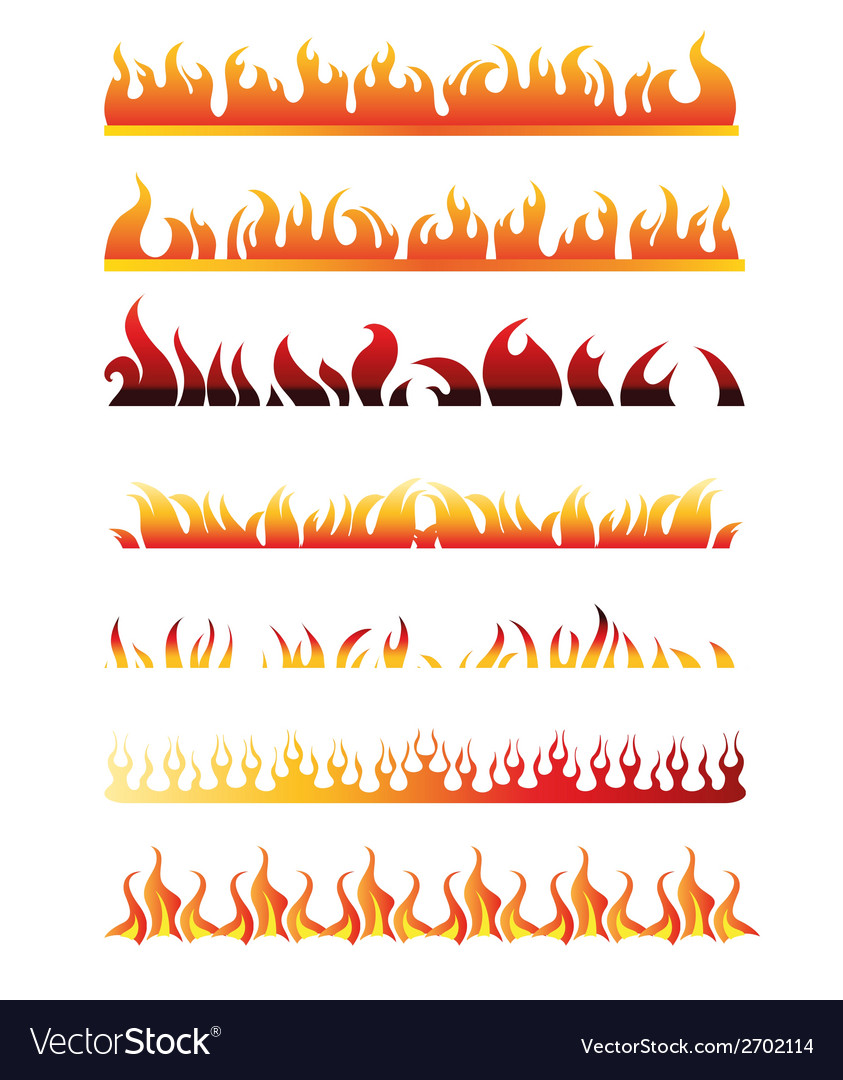 Set of Fire Border Element Line Frame