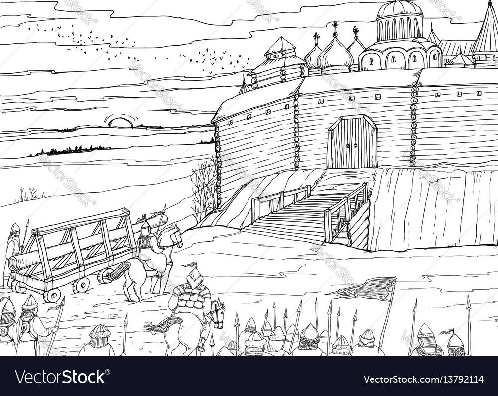 Siege of the slavic fortress nomads vector image