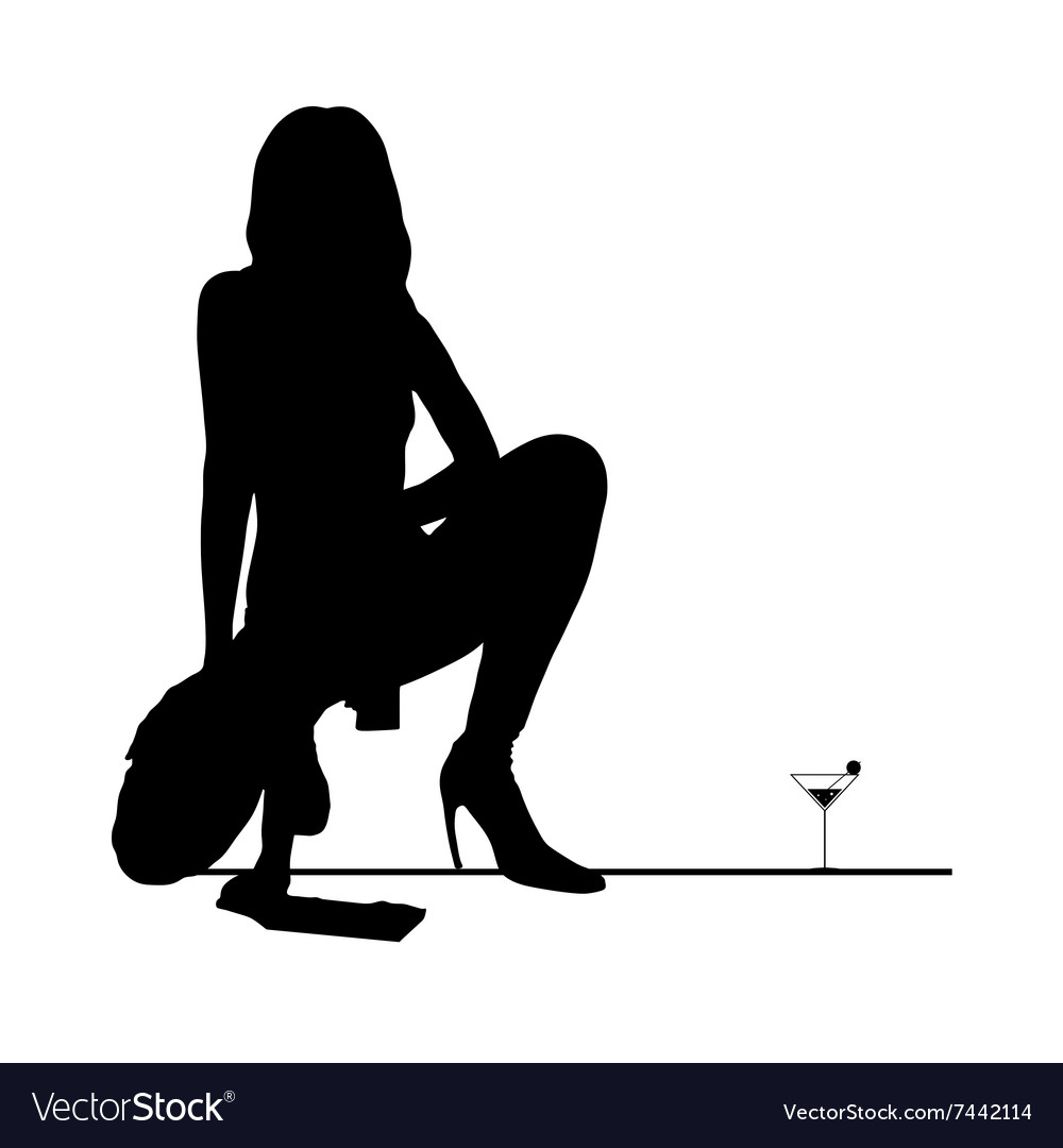 Woman black silhouette with martini glass