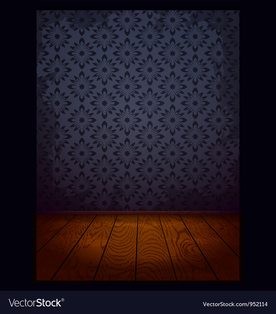 Wood Room With Wallpaper Blue