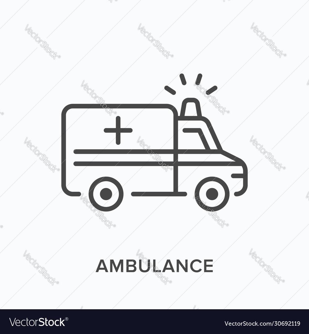 Ambulance car line icon outline