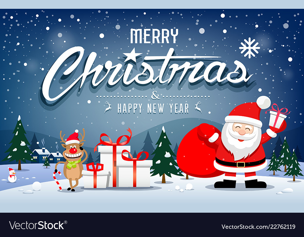 Christmas banners santa claus and reindeer smile