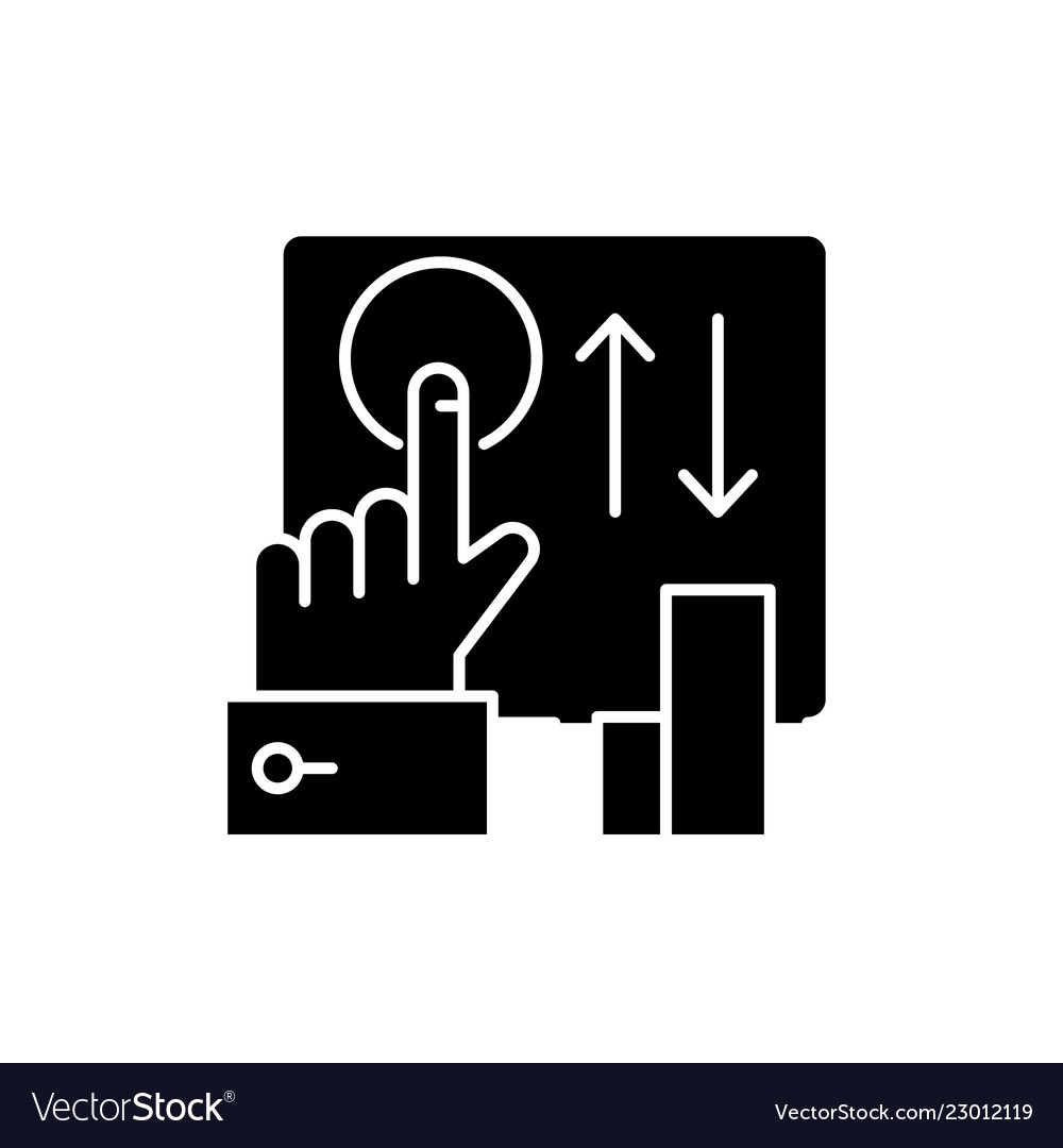Click here black icon sign on isolated