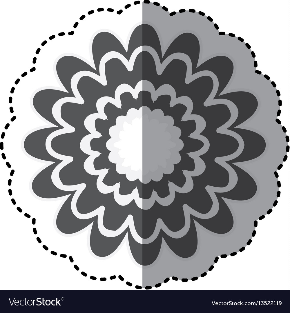 Contour flower with abstract petals icon