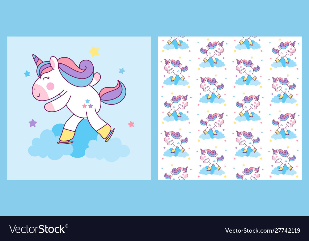 Cute unicorn ice skating with pattern
